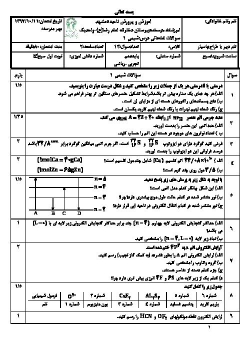امتحان ترم اول شیمی دهم دبیرستان امام رضا واحد 1 | دی 98