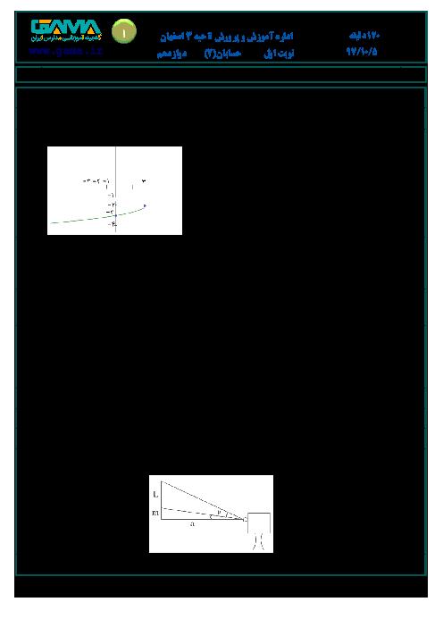 آزمون نوبت اول حسابان (2) دوازدهم دبیرستان امام صادق (ع) | دی 1397 + پاسخ