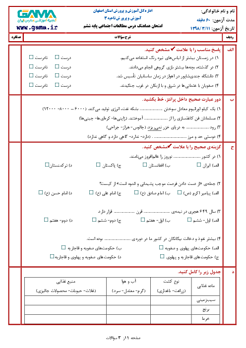 آزمون نوبت دوم مطالعات اجتماعی ششم هماهنگ ناحیه 3 اصفهان | خرداد 1398 + جواب