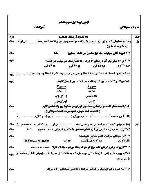 آزمون نوبت اول علوم تجربی هشتم مدرسه جابر بن حیان | دی 1397: فصل 1 تا 6