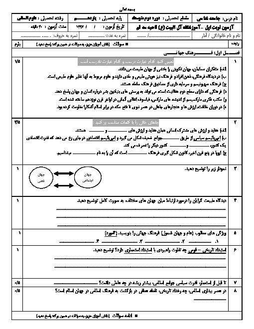 آزمون نوبت اول جامعه شناسی (2) یازدهم دبیرستان آل البیت ناحیه سه قم | دی 1397