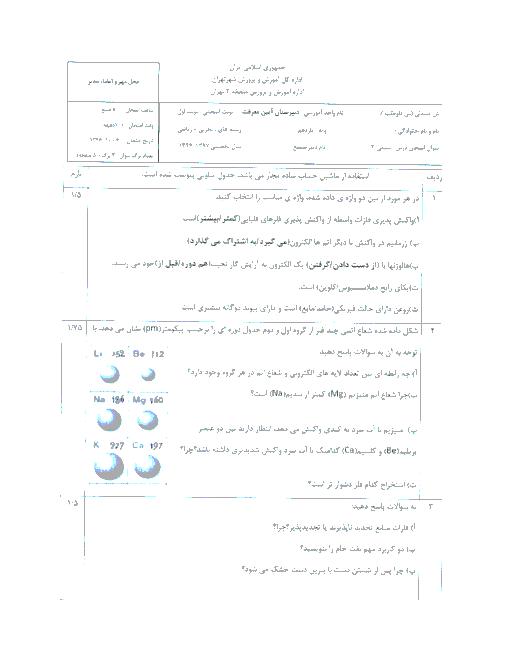 سوالات امتحان نوبت اول شیمی (2) پایه یازدهم دبیرستان آیین معرفت | دی 1396