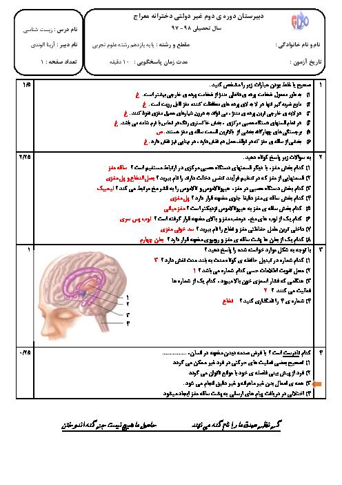 آزمون فصل اول زیست شناسی (2) یازدهم دبیرستان معراج | گفتار 2: ساختار دستگاه عصبی