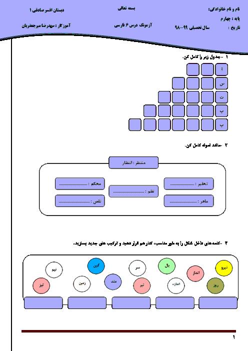 آزمون فارسی کلاس چهارم دبستان | درس 6: آرش کمانگیر