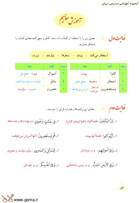 گام به گام آموزش قرآن نهم   پاسخ فعالیت ها و انس با قرآن درس 5: جلسه اول (سوره ذاریات)