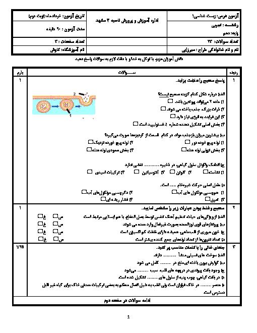 سوالات امتحان ترم دوم زیست شناسی (1) دهم دبیرستان کاوش | اردیبهشت 1399