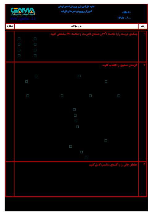 آزمون هماهنگ نوبت دوم مطالعات اجتماعی ششم دبستان | فاریاب کرمان ـ خرداد 1398