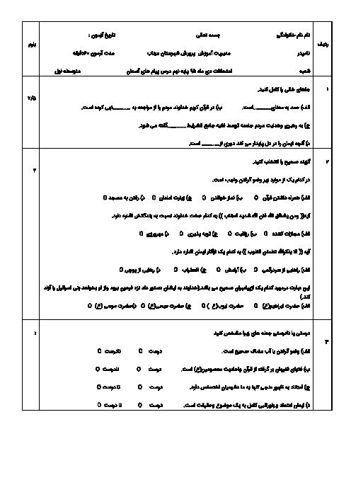 آزمون نوبت اول پیامهای آسمان نهم دبیرستان بهار انقلاب میناب   دی 95