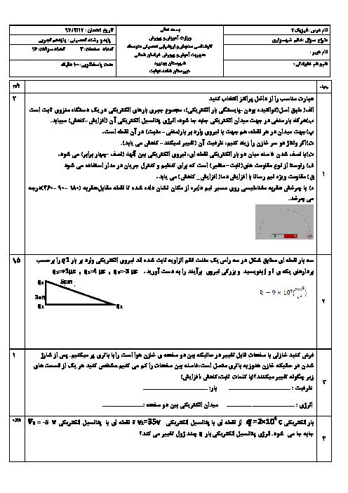 آزمون نوبت دوم فیزیک (2) پایه یازدهم رشتۀ تجربی دبیرستان نجابت | خرداد 1397