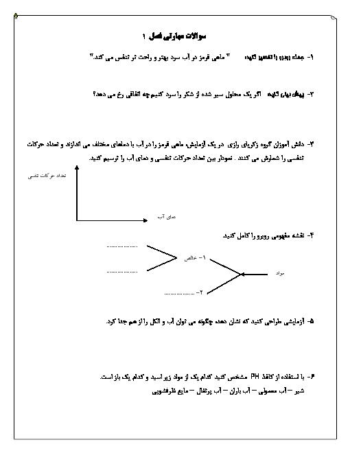 نمونه سوالات مهارتی علوم تجربی هشتم | فصل 1: مخلوط و جداسازی مواد