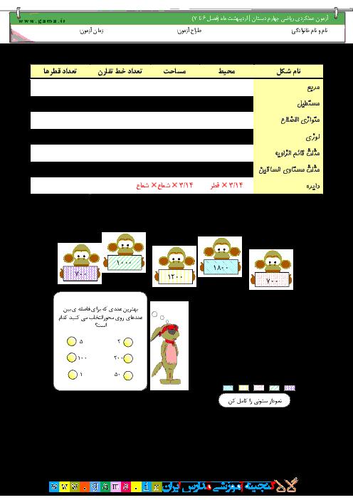 آزمون مستمر رياضی چهارم دبستان   ارديبهشت ماه: فصل 6 و 7