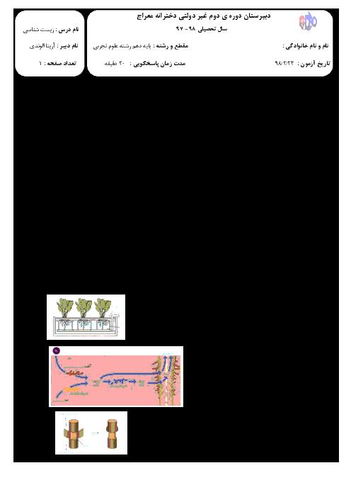 امتحان کلاسی فصل 7 زیست شناسی دهم دبیرستان معراج | جذب و انتقال مواد در گیاهان