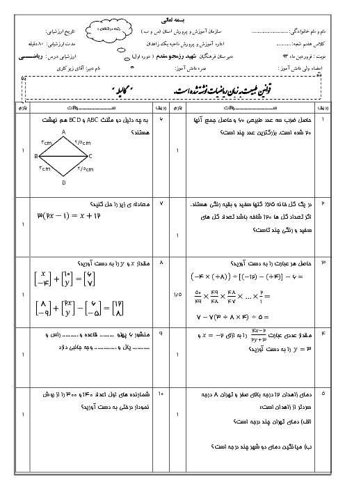 ارزشیابی میان ترم دوم ریاضی هفتم دبیرستان شهید رزمجو مقدم با پاسخ | فروردین 94