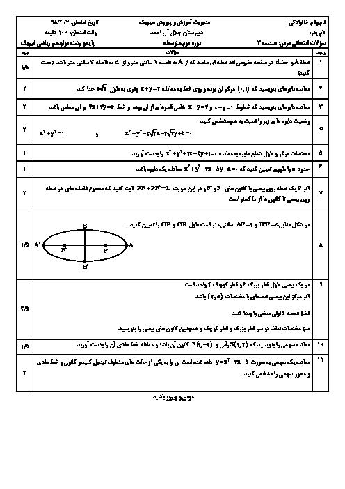 امتحان فصل 2 هندسه دوازدهم دبیرستان جلال آل احمد | آشنایی با مقاطع مخروطی