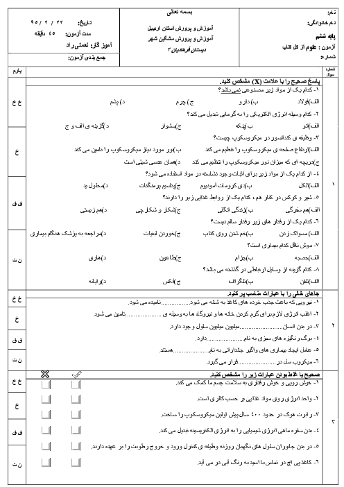 آزمون نوبت دوم علوم تجربی پایه ششم دبستان فرهادیان (2) مشگین شهر | اردیبهشت 95