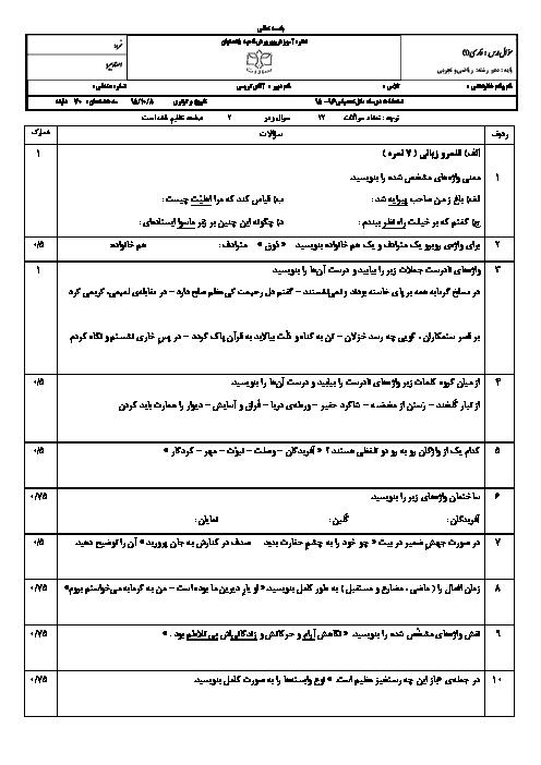 امتحان نوبت اول فارسی (1) دهم دبیرستان پسرانه سادات اصفهان - دیماه 95: درس 1 تا 9