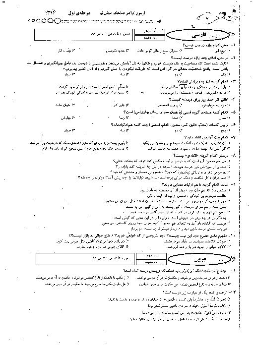 آزمون فراگیر هماهنگ مرحله اول پایه نهم استان قم | آذر 1394