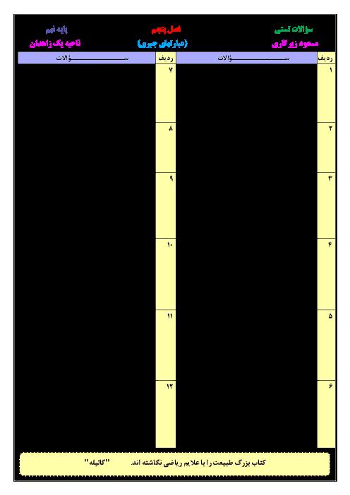 نمونه سوالات تستی ریاضی نهم | فصل 5: عبارت های جبری