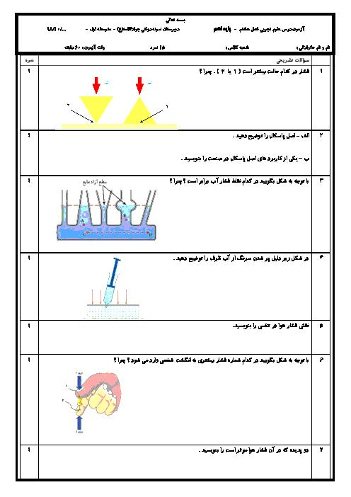 سوالات امتحان علوم تجربی نهم مدرسه جواد الائمه | فصل 8: فشار و آثار آن