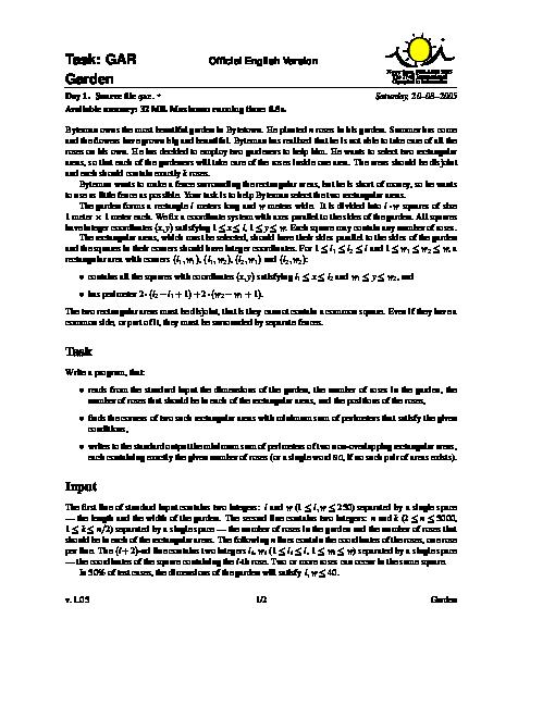 سؤالات هفدهمین دوره المپیاد جهانی کامپیوتر با پاسخ تشریحی | سال 2005 (لهستان)