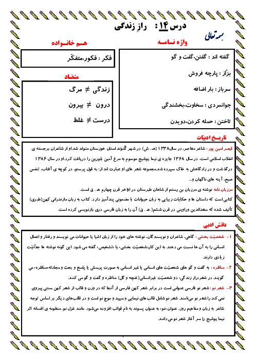 معنی عبارت های درس، واژه نامه، دانش زبانی و تاریخ ادبیات درس 14 | فارسی پایه ششم دبستان