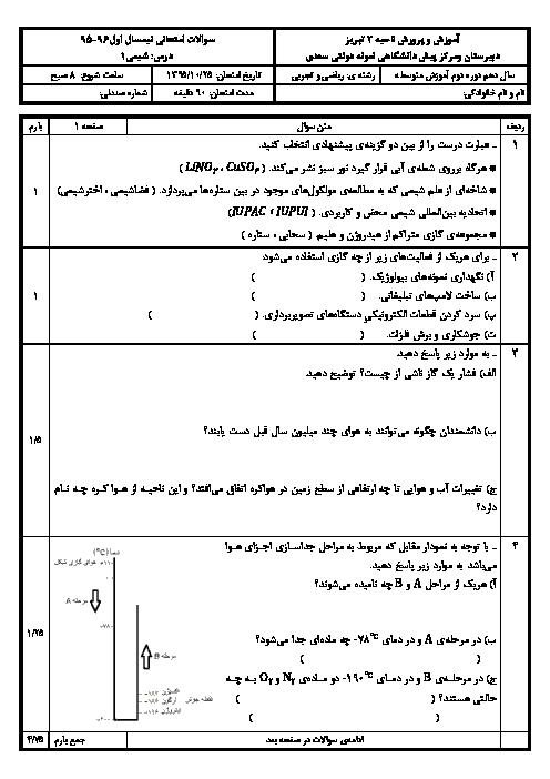 امتحان ترم اول شیمی دهم دبیرستان نمونه دولتی سعدی تبریز | دی 97