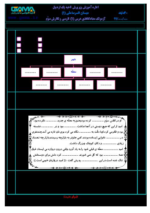 آزمون فارسی و نگارش سوم ابتدائی | درس 1: محله ی ما