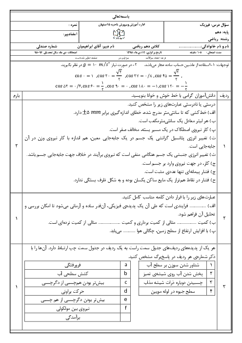 امتحان نوبت اول فیزیک (1) دهم رشتۀ علوم ریاضی دبیرستان پسرانه سادات اصفهان - دیماه 95