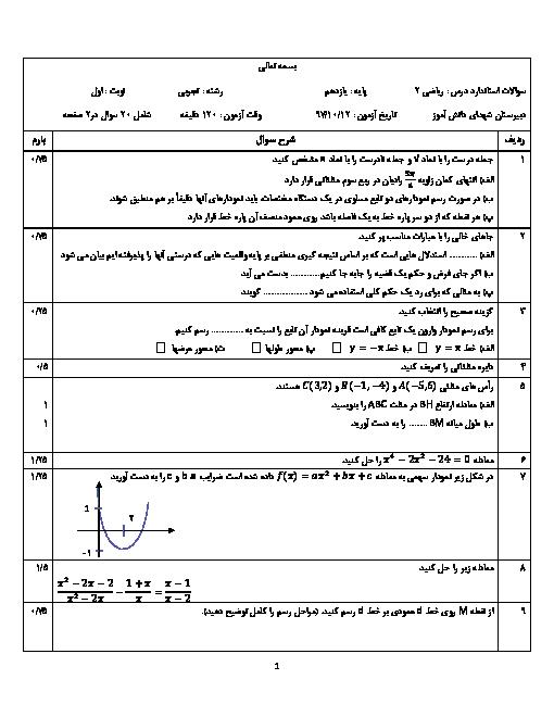 آزمون نوبت اول ریاضی (2) یازدهم دبیرستان شهدای دانش آموز | دی 1397