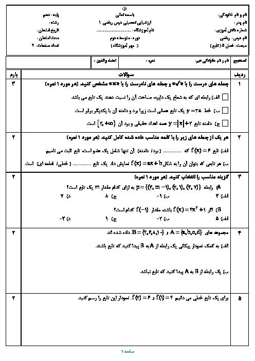 آزمون پایانی فصل 5 ریاضی دهم دبیرستان امام خمینی اقلید | تابع + پاسخ