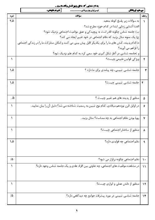 امتحان جامعه شناسی (3) دوازدهم دبیرستان نور دانش | درس 3: نظم اجتماعی