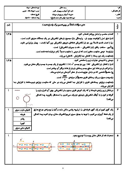 آزمون نوبت اول فیزیک (2) یازدهم تجربی دبیرستان امام محمد باقر سپیدان | دیماه 96