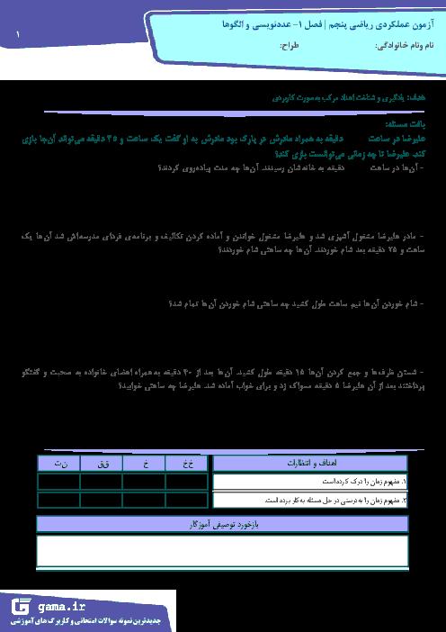 آزمون عملکردی ریاضی پنجم دبستان امام مجتبی | فصل 1: عدد نویسی و الگوها