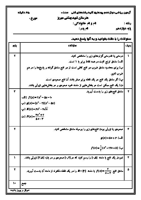 سوالات امتحان ریاضی (3) دوازدهم فنی هنرستان شهید بهشتی | پومان 5: محاسبات مشتق و کاربردها
