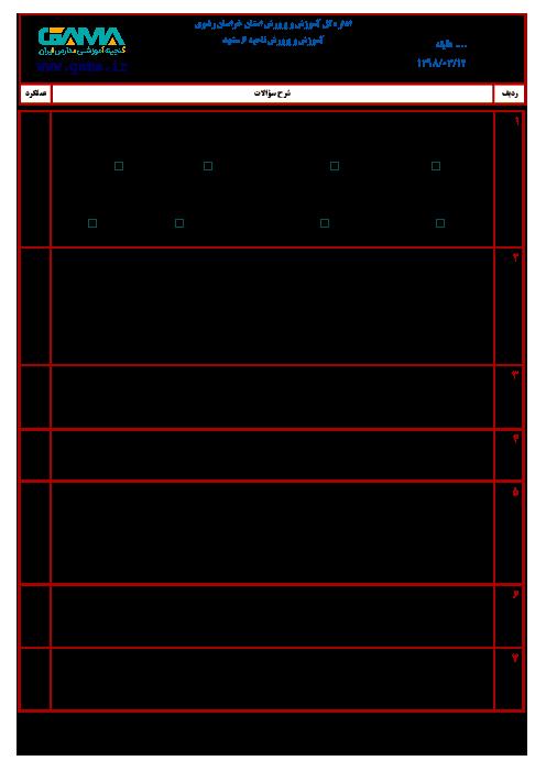 آزمون نوبت دوم انشا و نگارش ششم هماهنگ ناحیه 6 مشهد | خرداد 1398