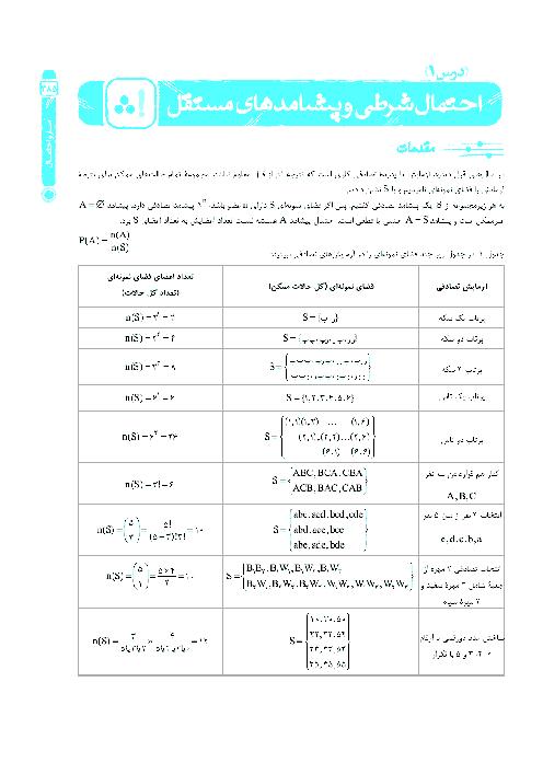68 سوال تستی ریاضی (2) پایه یازدهم رشته ریاضی | فصل 7- درس 1: احتمال شرطی و پیشامدهای مستقل
