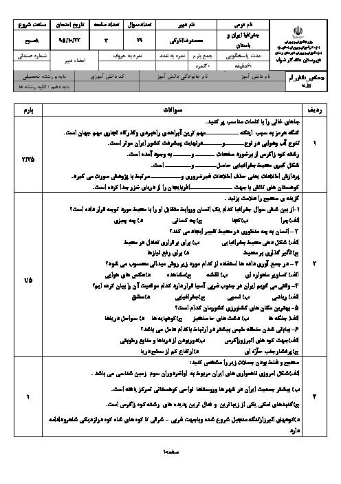 امتحان نوبت اول جغرافیای ایران + استان شناسی یزد پایه دهم دبیرستان ماندگار شرف اردکان | دی 95: درس 1 تا 5