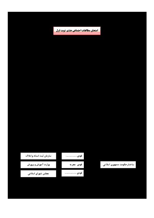 آزمون نوبت اول مطالعات اجتماعی پایه هشتم مدرسه شهید غفاری  | دی 1394