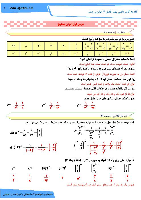 راهنمای گام به گام ریاضی نهم فصل 4: توان و ریشه (درس اول: توان صحیح)