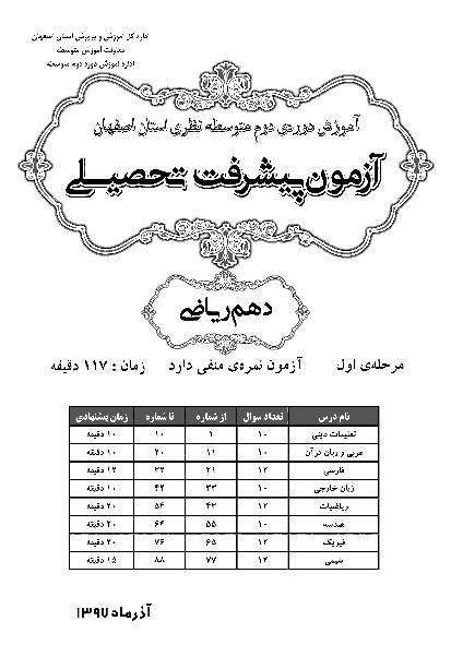 سوالات و پاسخ کلیدی آزمون پیشرفت تحصیلی پایه دهم رشته ریاضی استان اصفهان | مرحله اول (آذر 97)