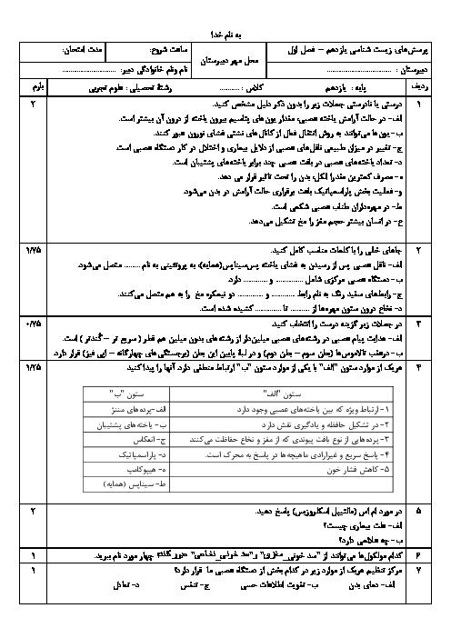 آزمون فصل اول زیست شناسی (2) یازدهم دبیرستان شهید مدرس
