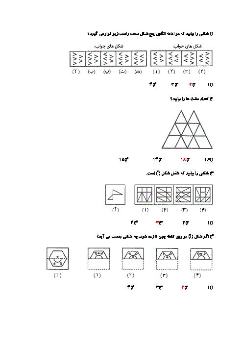 آزمون آزمایشی استعداد تحلیلی پایه ششم ابتدائی + کلید