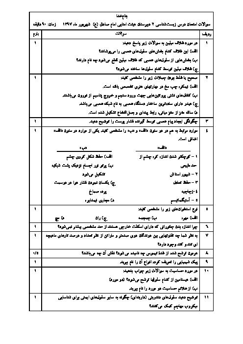 سوالات امتحان جبرانی درس زیست شناسی 2 دبیرستان امام صادق شوش | شهریور 1397
