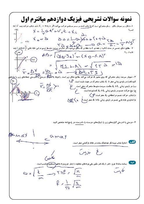 مجموعه نمونه سوالات تشریحی آمادگی امتحان نوبت اول فیزیک (3) دوازدهم رشته ریاضی