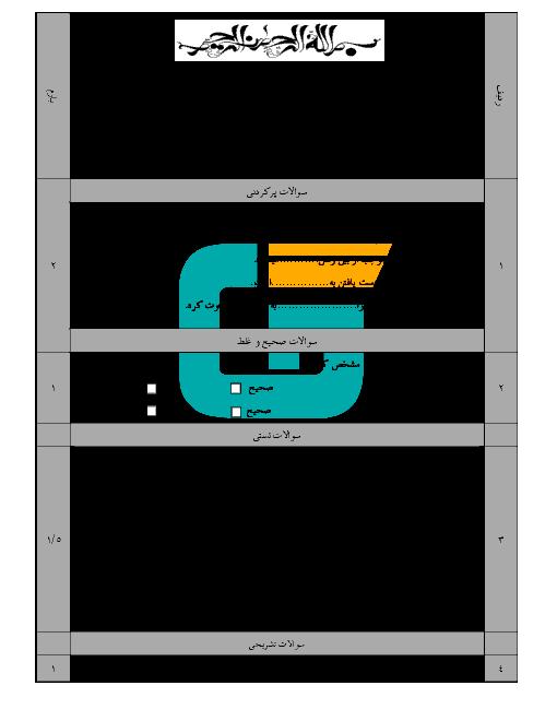 امتحان مستمر پیامهای آسمان پایه نهم مدرسه شهید غفاری | درس 2 و 3