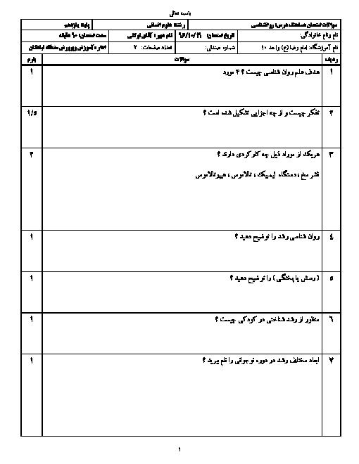 سوالات امتحان نوبت اول روانشناسی پایه یازدهم رشته انسانی دبیرستان امام رضا (ع) تبادکان | دی 96