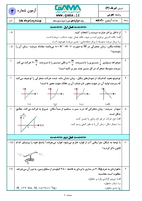 نمونه سوال امتحان نوبت دوم فیزیک (3) تجربی دوازدهم (سری 3) | خرداد 1398 + پاسخنامه تشریحی