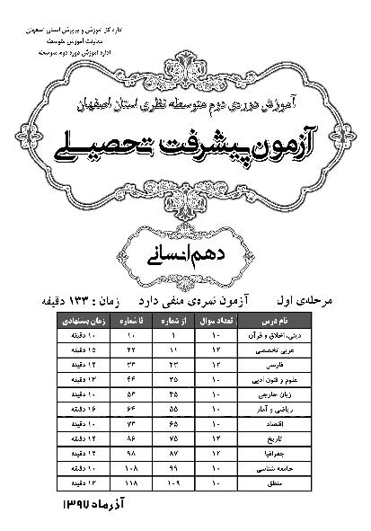سوالات و پاسخ کلیدی آزمون پیشرفت تحصیلی پایه دهم رشته انسانی استان اصفهان   مرحله اول (آذر 97)