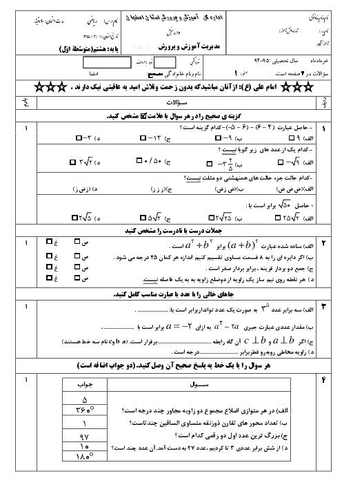 امتحان هماهنگ استانی نوبت دوم خرداد ماه 95 درس ریاضی پایه هشتم | استان اصفهان + پاسخ