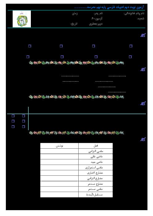 آزمون نوبت دوم ادبیات فارسی پایه نهم مدرسه شهید زارعی | خرداد 1397